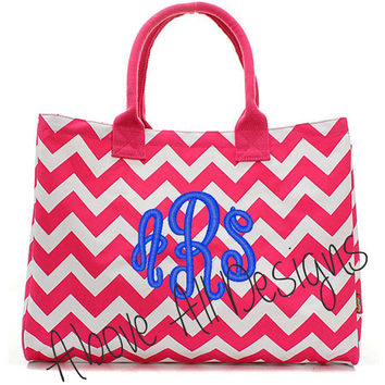 MONOGRAMMED Pink Chevron Canvas Tote