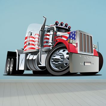 Patriotic Semi Truck Cartoon Wall Decal