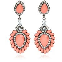Coral jewelled drop statement earrings