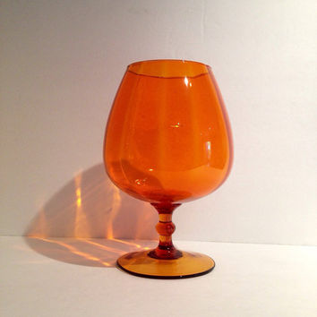 Groovy Vintage Hand Blown Stemmed Orange Glass  Retro Bowl Martini Dish