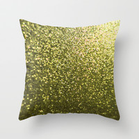 Gold Glitter Sparkle Throw Pillow by xjen94