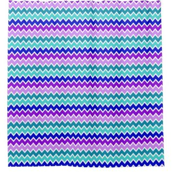 Teal Turquoise Navy Blue Lavender Purple Chevron Shower Curtain
