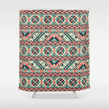 Aztec Pattern Shower Curtain by Tami Art