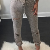 Gray Drawstring Waist Ripped Pants