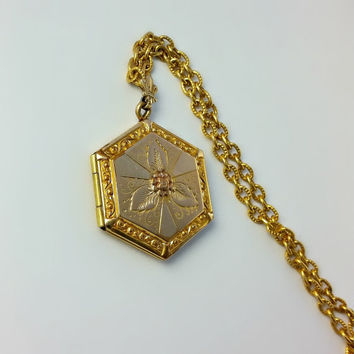 Victorian Locket - Art Nouveau Gold Filled Locket - Gold Hexagon Locket Pendant - Antique Gold Filled Locket