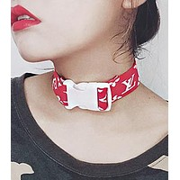 Louis Vuitton LV Newest Fashion Couple Cool Letter Pattern Print Collar Necklace
