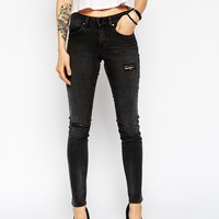 ASOS Skinny Mid Rise Jeans in Gospel Wash with Ripped Knees