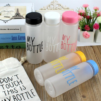 6 Colors 500ml Water Bottles Plastic Frosted Leak-proof Cup Portable Water Bottle for Outdoor Sport Running Camping High Quality