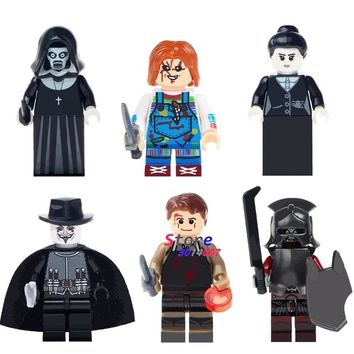 50pcs The Horror Theme Tv Movie Halloween Nun Sinter guy fawkes Creepy Doll building blocks bricks friends hobby toys for boys
