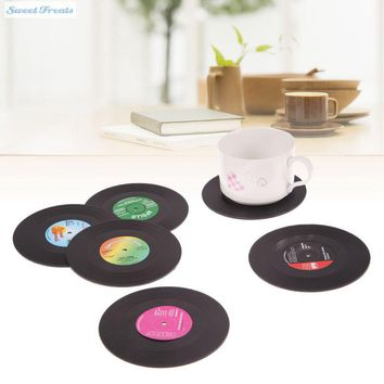 Sweettreats 6 Pcs/ set Retro Vinyl CD Record Drinks Coasters Home Table Cup Mat Coffee Drink Placemat Tableware Spinning