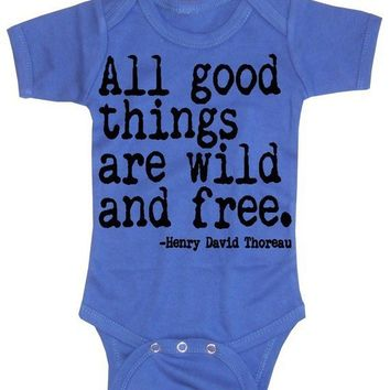 All Good Things are Wild and Free Baby Boy Onesuit by happyfamily