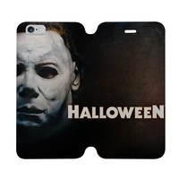 MICHAEL MYERS HALLOWEEN Wallet Case for iPhone 4/4S 5/5S/SE 5C 6/6S Plus Samsung Galaxy S4 S5 S6 Edge Note 3 4 5