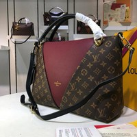 KUYOU L074 Louis Vuitton LV Monogram Canvas Leather V Tote MM Handbag 36-27-16CM Wine Red