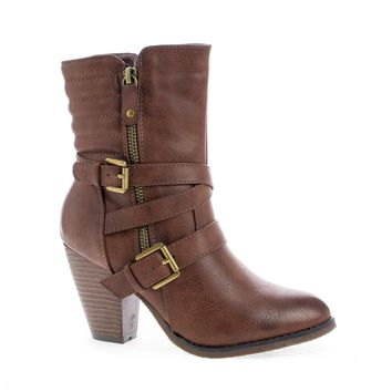 Outcast02 Brown Pu By Nature Breeze, Western Cowgirl Stacked Faux Wooden Block Heel Ankle Boots