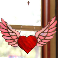 Heart and Wings Rock and Roll Winged Heart Motorcycle Gift Stained Glass Suncatcher