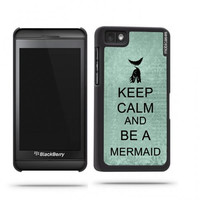 Keep Calm And Be A Mermaid Teal Floral Blackberry Z10 Case - For Blackberry Z10
