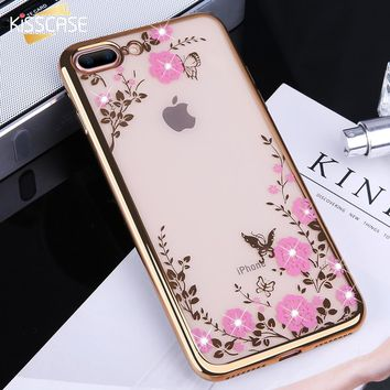 KISSCASE Glitter Case for iPhone 5 5s se Luxury Patterned Cases For iPhone X 8 7 6 6s Plus Cover Diamond Flower Girly Phone Capa