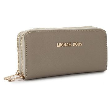 michael kors women mk purse simple fashion double zip long section high capacity wallet handbag-1