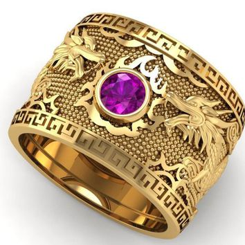 Purple Dragon Gold Wide Band Mens Ring Amethyst Ring Gift for Man Large Engraved Heavy Ring Unique Ring Engagement Ring Wedding Ring