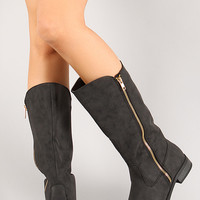 Qupid Turner-17 Distress Nubuck Knee High Boot