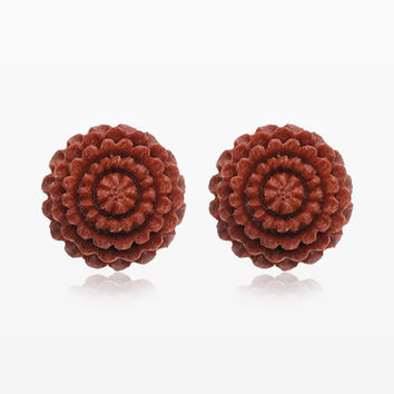 A Pair of Chrysanthemum Handcarved Wood Earring Stud