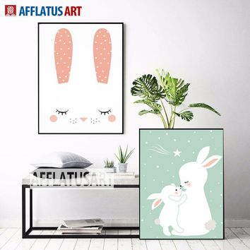 AFFLATUS Nordic Cute Baby Rabbit Canvas Painting Wall Art Posters And Prints Nursery Wall Pictures For Kids Room Decor No Frame
