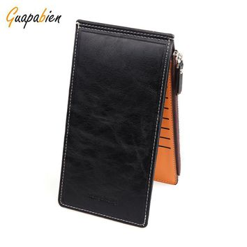 Candy Color Double Zippers Silm Hasp Wallets PU Leather Purses Unisex Thin Vertical Long Clucth Wallet Clutch Credit Card Holder