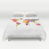 World Map Duvet Cover by ArtisanObscure Prints