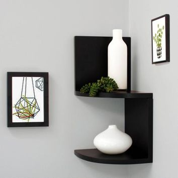 "Kiera Grace Priva 7"" Corner Shelves, Black, Set of 2 - Walmart.com"