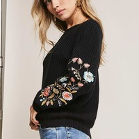 Woven Heart Embroidered Sweater