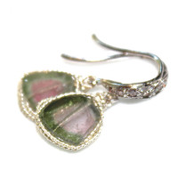Raw Watermelon Tourmaline Slice Earrings Tourmaline Earrings Rustic Earrings Tourmaline Jewelry Silver Earrings Simple Earring FizzCandy