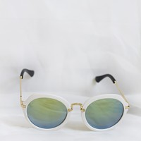 Fancy White Sunglasses - Blue Lenses