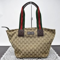 Authentic Gucci Tote Bag GG Sherry Browns Canvas 43479