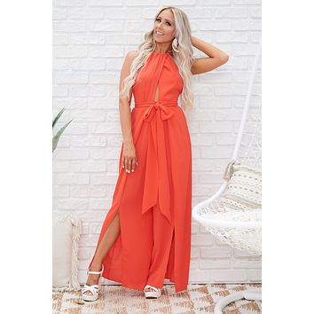 Seaside Retreat Halter Jumpsuit (Tomato)