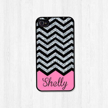 Personalized iPhone Case, iPhone 4, iPhone 5, iPhone 5S, Silver Chevron Glitter Print with Pink Name Monogram, Phone Case (371)