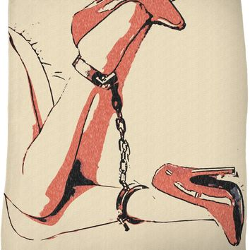 Bad girls know what to wear, heels and chains, erotic slave blanket