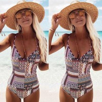 New Stylish Women Retro Irregular Print Bandage Backless One Piece Bikini Swimwear Bathing