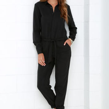 Mink Pink Sinking Ships Black Long Sleeve Jumpsuit