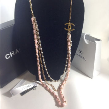 Long Gold Pearl Pink Silk Necklace W Chanel Charm (Handmade)