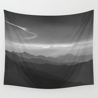 Misty mountains. WB. Yesterday Wall Tapestry by Guido Montañés