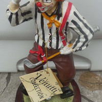 Clown Figures - Vintage Clown Venutti Collection Golfer - Playing Golf - Pinstriped Shirt - With Tags - Hand over Eyes