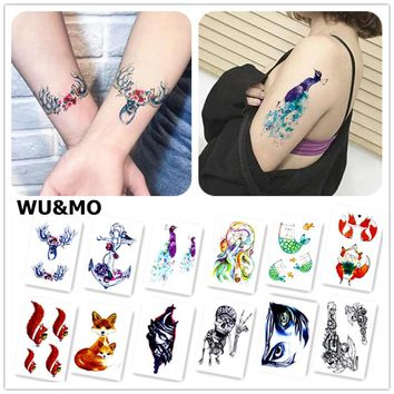 WU&MO New Arrival  Colorful Painting Animals Fake Flash Sexy Body Art Temporary Tattoo Stickers For Man Woman 150x105mm