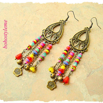 Boho Colorful Earrings, Modern Hippie Chandelier Earrings, Vibrant Fiesta, Boho Fashion, bohostyleme, Kaye Kraus