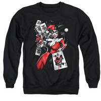 Harley Quinn Card Dealer Mens Crewneck Sweatshirt