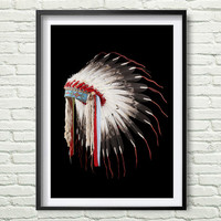 Native American Headdress, Printable Art, Tribal Print, Indian Headdress, Art Print, Wall art, Wall Decor, Instant download *37*