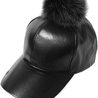 Black Fur Pom Baseball Hat