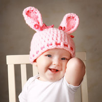 Baby Hats Bunny Hat Pink Bunny Hat Baby Girl Cap Newborn Clothes Christmas Gift Photo Prop Toddler Hat Crochet Baby Hat