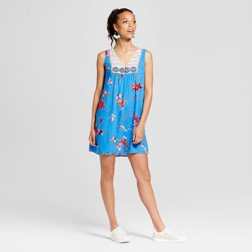 Women's Embroidered Shift Dress - Xhilaration™ (Juniors') Blue