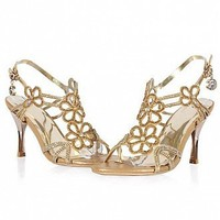 [$52.99 ] Stylish Cow Leather Golden Stiletto Heel Peep Toe Sandals - Dressilyme.com