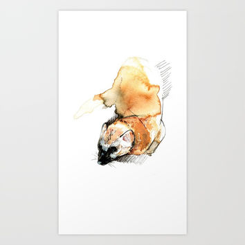 Japanese Marten Realistic (c) 2017 Art Print by Belette Le Pink